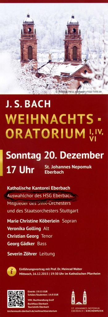 Weihnachts-Oratorium Ankündigung